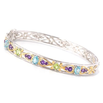 129-005 - Gems en Vogue II 2.08ctw Multi Sapphire Hinged Bangle Bracelet