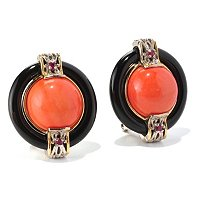 SS/PALL EAR CORAL & BLACK ONYX BUTTON w/ OMEGA BACK