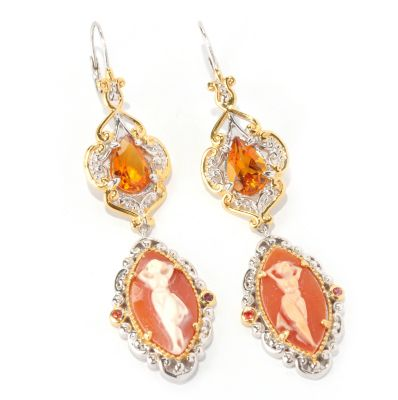 129-013 - Gems en Vogue II 18 x 9mm Carved Cameo & Multi Gem Dancing Goddess Drop Earrings