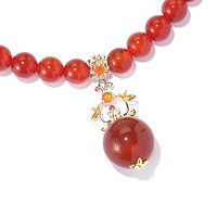 "SS/PALL NECK 20MM CARNELIAN BEAD & MULTI-GEM w/ 20"" BEAD STRAND"