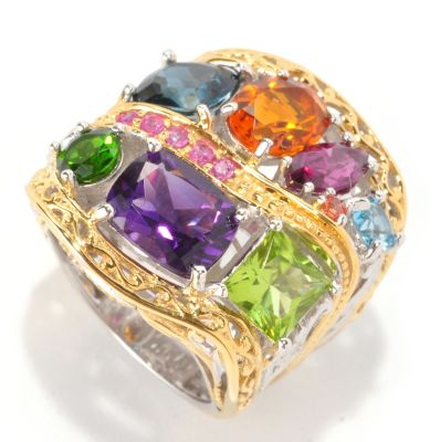 "129-017 - Gems en Vogue II 7.45ctw Multi Gemstone ""Beverly Hills"" Ring"