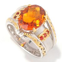 SS/PALL RING FIRE CITRINE & ORANGE SAPH