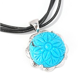 129-020 - Gem Insider Sterling Silver 18'' Carved Turquoise Flower Enhancer Pendant