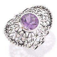 SS ROUND AMETHYST RING W/ LACE DESIGN