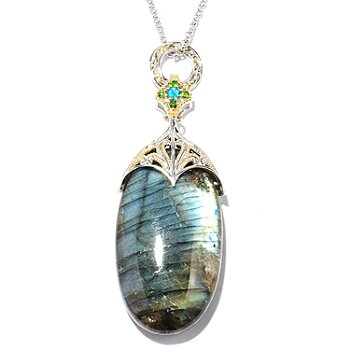 129-023 - Gems en Vogue II 45 x 25mm Labradorite & Multi Gemstone Pendant w/ Chain