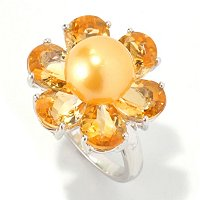 SS GOLDEN SOUTH SEA & CITRINE FLOWER RING
