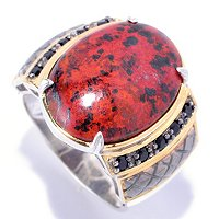 MEN'S - SS/PALL RING CUPRITE CHRYSOCOLLA & BLK SPINEL