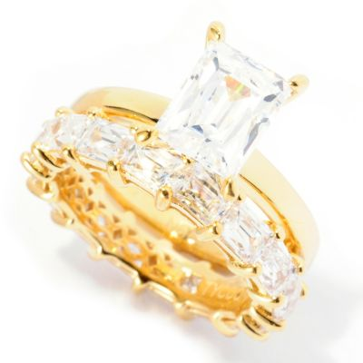 129-033 - TYCOON for Brilliante® 5.28 DEW Solitaire & Eternity Band Two-Piece Ring Set