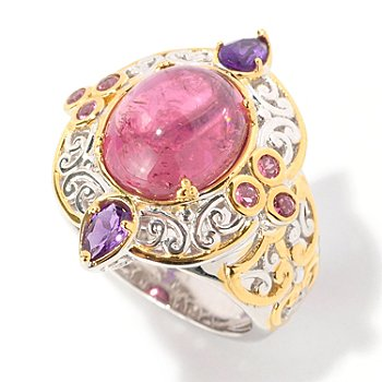 129-035 - Gems en Vogue II 12 x 10mm Pink Tourmaline Cabochon & Amethyst Ring