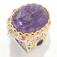 SS/PALL RING CHAROITE & MULTI GEMSTONE
