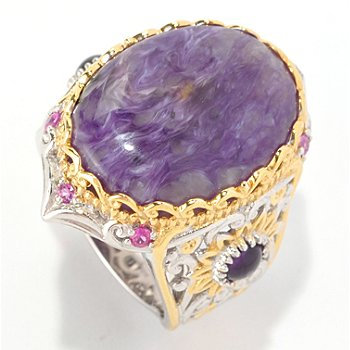 129-037 - Gems en Vogue II 20 x 15mm Charoite, Amethyst & Pink Sapphire Polished Ring