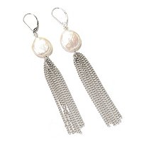 SS 14-16mm WHITE KESHI & CHAIN TASSSLE EARRINGS