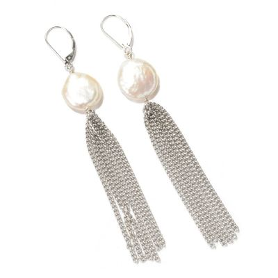 129-039 - Sterling Silver 14-16mm Keshi Freshwater Cultured Pearl Chain Earrings