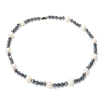 129-042 - Sterling Silver 20'' 10-11mm White Freshwater Cultured Pearl & Spinel Necklace
