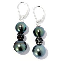 SS 10-11mm SEMI-ROUND TAHITIAN & BLACK SPINEL LEVERBACK EARRINGS
