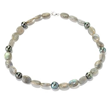 129-045 - Sterling Silver 11-12mm Tahitian Cultured Pearl & Labradorite 18.5'' Necklace