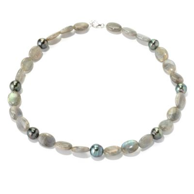 "129-045 - Sterling Silver 11-12mm Tahitian Cultured Pearl & Labradorite 18.5"" Necklace"