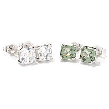 129-052 - Brilliante® Platinum Embraced™ Set of Two Asscher Simulated Diamond Stud Earrings