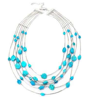 "129-053 - Gem Insider 18"" Sterling Silver Sleeping Beauty Turquoise Multi Strand Necklace"