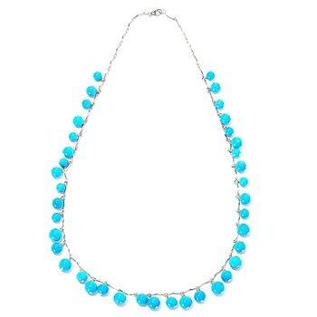 129-055 - Gem Insider 18'' Sterling Silver Sleeping Beauty Turquoise Smooth Bead Necklace