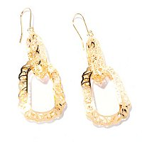 14K RICAMI DANGLING HOOP EARRINGS