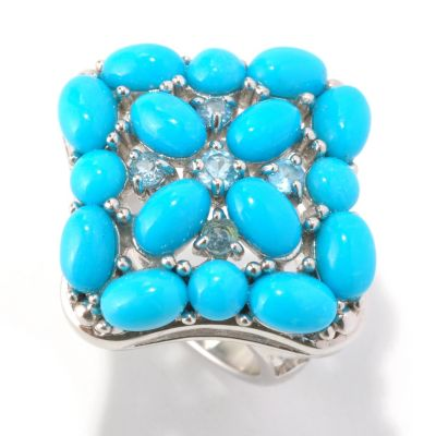 129-068 - Gem Insider Sterling Silver Sleeping Beauty Turquoise & Blue Topaz Square Ring