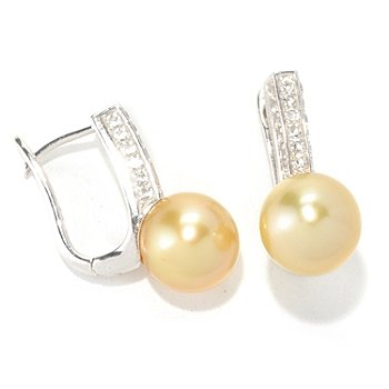 129-069 - Sterling Silver 10-11mm Golden South Sea Cultured Pearl & White Topaz Earrings