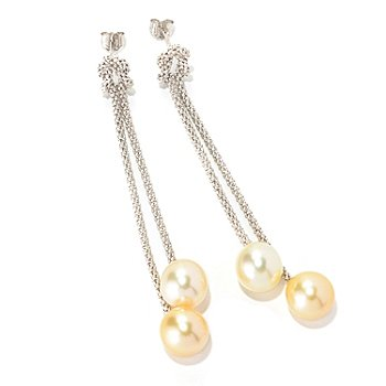 129-076 - Sterling Silver 9-10mm Light & Dark Golden South Sea Cultured Pearl Dangle Earrings
