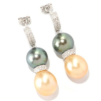 129-077 - Sterling Silver 1.12'' 8-10mm Two-Tone Exotic Cultured Pearl & Diamond Earrings