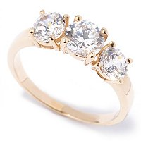 BG 14K CHOICE OF SHAPE THREE STONE RING