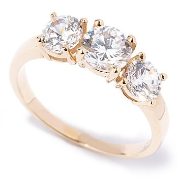 129-082 - Brilliante® 14K Gold Essentials™ Three-Stone Ring