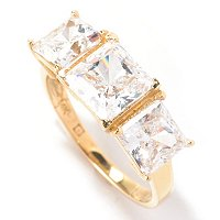 BG 14K ASSCHER CUT THREE STONE RING