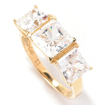 129-083 - Brilliante® 14K Gold Essentials™ 2.50 Asscher Cut Three-Stone Ring