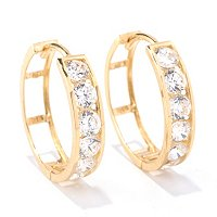 "BG 14K ROUND CUT HOOP EARRINGS (3/4"")"