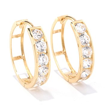 129-088 - Brilliante® 14K Gold Essentials™ 1.20 DEW Round Cut Hoop Earrings