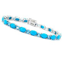 SS RHODIUM PLATED SLEEPING BEAUTY TURQ & SWISS BLUE TOPAZ BRACELET
