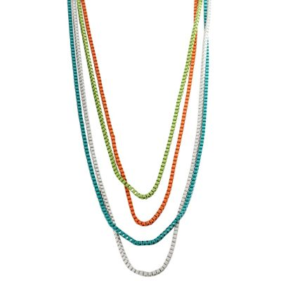 "129-111 - Journee Collection 40"" Vintage Inspired Multi Colored Pastel Box Chain Necklace"