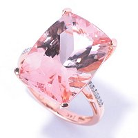 14K RG CUSHION MORGANITE 13 X 18 DIAMOND SOLITAIRE RING