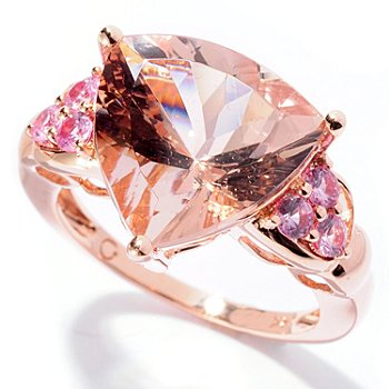 129-177 - Gem Treasures 14K Rose Gold 5.81ctw Morganite & Pink Sapphire Trillion Ring