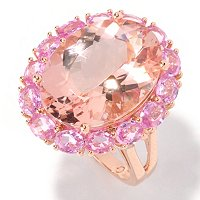 14K RG OVAL MORGANITE WITH PINK SAPP HALO RING 13X17