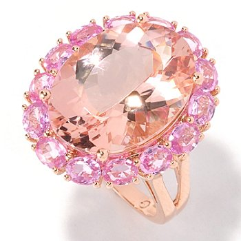 129-178 - Gem Treasures 14K Rose Gold 11.86ctw Morganite & Pink Sapphire Oval Halo Ring