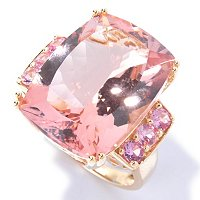 14K YG CUSHION MORGANITE WITH PINK SAP RING 15X20