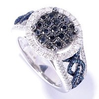 SS ROUND PAVE BLACK DIAM WITH BLUE AND WHT RING