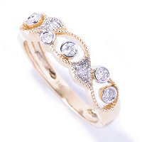 14K YG WHTIE DIAMOND BAND RING