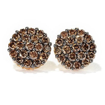 129-190 - Diamond Treasures 14K Gold 2.00ctw Mocha Diamond Round Stud Earrings