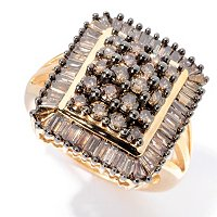 14K YG DARK BROWN ROUND AND BAG RING