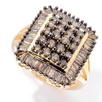 129-191 - Diamond Treasures 14K Gold 2.14ctw Round & Baguette Champagne Diamond Square Ring