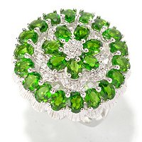 SS/P RING CHROME DIOPSIDE & WHT ZIRCON FLOWER TOP