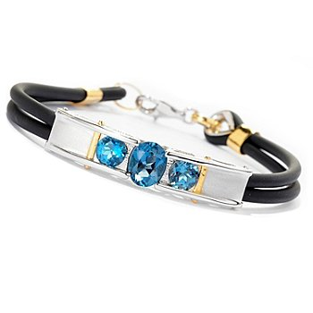 129-202 - Men's en Vogue II 4.60ctw London Blue Topaz Double Rubber Cord Bracelet