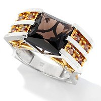 MEN'S - SS/PALL RING RADIANT-CUT SMOKY QUARTZ & GEMSTONE